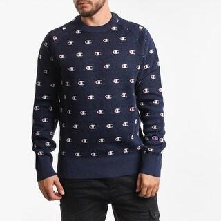 Link to Champion Logo Crewneck Reversed Weaved Sweatshirt Navy - Large Similar Items in Athletic Clothing