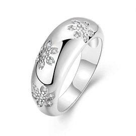 Floral White Gold Inprint Ring