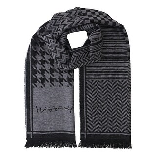 Missoni SC12WOU5857 0007 Grey/Black 100% Wool Scarf