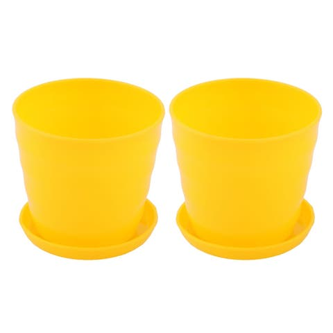 "Apartment Desktop Cactus Plant Flower Seed Pot Tray Holder Yellow 2pcs - 3.6"" x 3.3""(Max.D*H)"