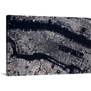 """Satellite view of Manhattan, New York City, New York State"" Canvas Wall Art"