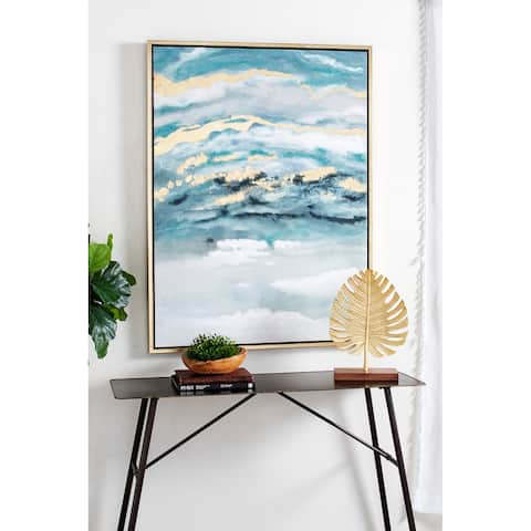 Blue Polystone Contemporary Framed Wall Art Abstract 48 x 36 x 2 - 36 x 2 x 48