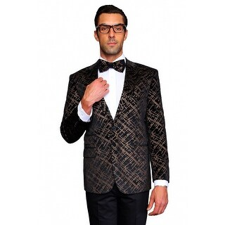 MZV-413 BLACK Men's Manzini Fancy 2 button Paisley design Velvet, sport coat.