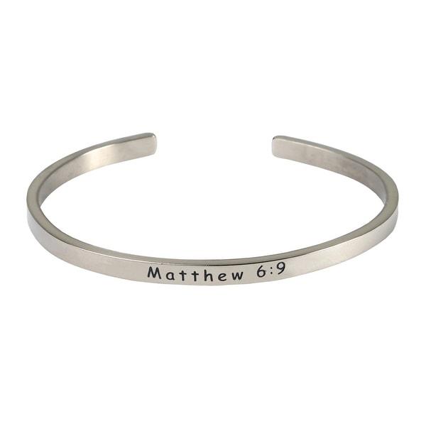 Women's Bible Verse Sterling Silver Engraved Cuff Bracelet - Mathew 6:9
