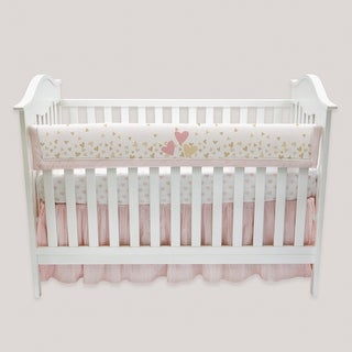 Lambs & Ivy Confetti Crib Rail Cover - Pink, Gold, White, Love, Hearts, Modern, Girl