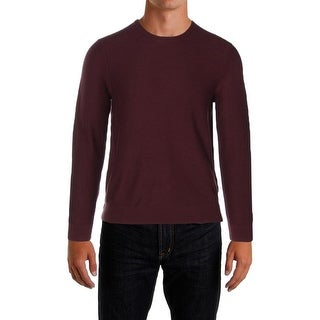 Michael Kors NEW Burgundy Red Mens L Crewneck Waffle-Knit Wool Sweater