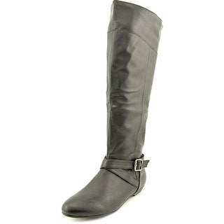 Chinese Laundry Newbie Women Pointed Toe Leather Black Knee High Boot