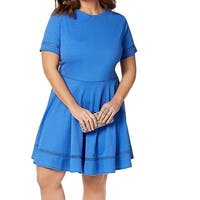 City Studio Blue Women's 18 Plus Textured Fit Flare A-Line Dress