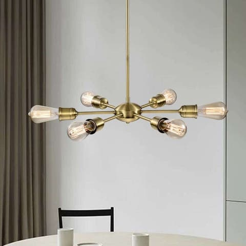 Laura 6-Light Sputnik Sphere Chandelier in Satin Brass Finish