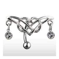 "Hinge Navel Belly Button Ring with CZ and Tribal Design - 14GA 3/8"" Long"