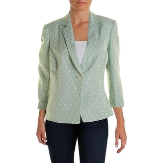 Tahari ASL Womens Ella Floral Print Notch Collar One-Button Blazer - 14