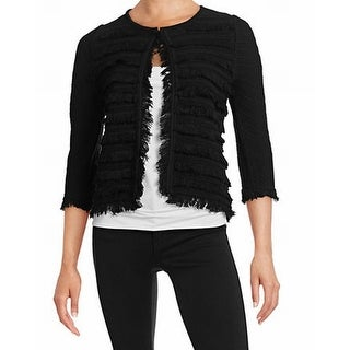 T Tahari NEW Black Women's Size Small S Frayed Open Cardigan Sweater