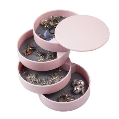 Jewelry Organizer 4 Layer Rotatable Small Storage Box Earring Holder Tray, Pink