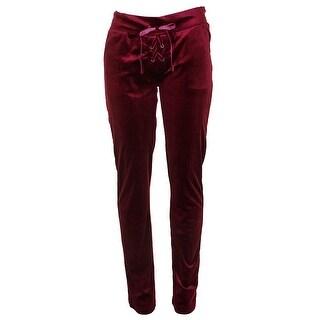Material Girl Juniors Plum Caspia Lace-Up Velour Lounge Pants S
