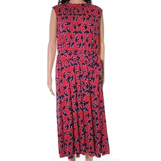 Leota Red Westward Geo Women's Large L Mindy Shirred A-Line Dress