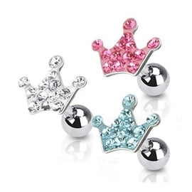 "Surgical Steel Tragus/Cartilage Barbell with Multi Paved Crown Top - 16GA 1/4"" Long (Sold Ind.)"