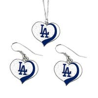 Los Angeles Dodgers  MLB Glitter Heart Necklace and Earring Set Charm Gift