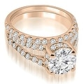 1.61 cttw. 14K Rose Gold Lucida Cathedral Split Shank Diamond Bridal Set - Thumbnail 0