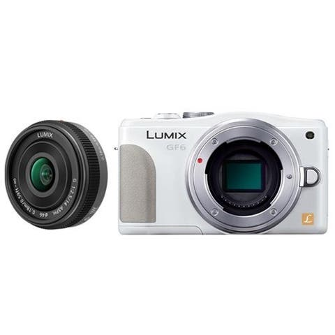 Panasonic Lumix DMC-GF6 Mirrorless Micro Four Thirds Digital Camera with 14mm f/2.5 G Aspherical Lens (White) Bundle