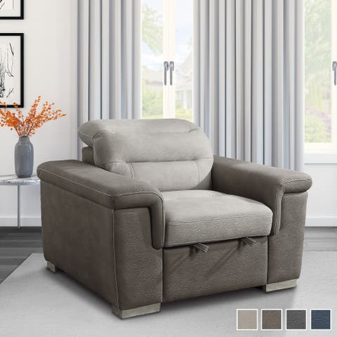 Noyer Living Room Chair with Pull-out Ottoman