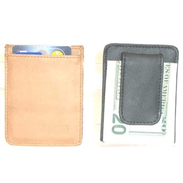 Improving Lifestyles® Leather Mens Money Clip Wallet Black with FREE Organza Gift Bag ELILCLIP01BK