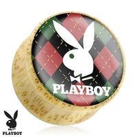 Playboy Bunny Logo on Red/Green Argyle Print Wood Saddle Plug (Sold Individually)