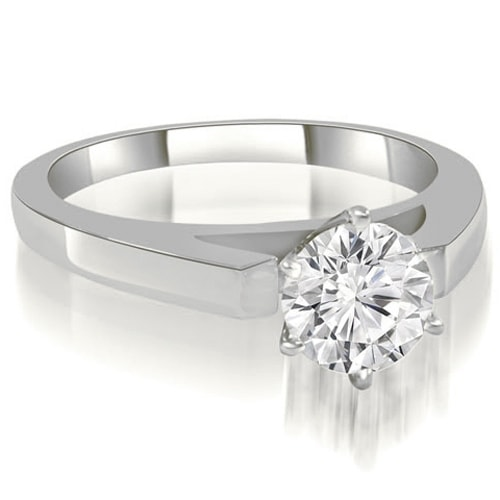 0.75 cttw. 14K White Gold Cathedral Solitaire Round Diamond Engagement Ring