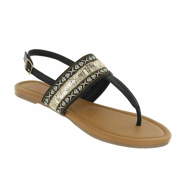 66ea093298 Shop Red Circle Footwear Women's 'Anata' Tape and Sequins Sandals ...