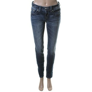 Miss Me Womens Mid-Rise Embellished Skinny Jeans