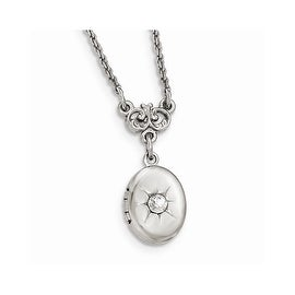 Silvertone Downton Abbey Crystal Locket Necklace - 16in