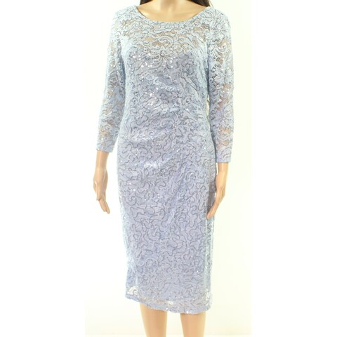 Marina Sky Blue Womens Size 6 Lace Shimmer Gathered Sheath Dress