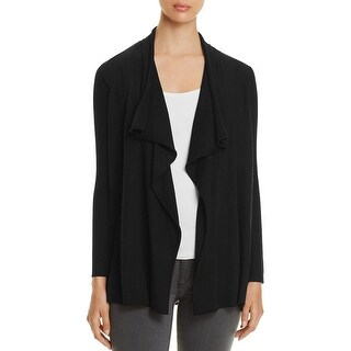 Eileen Fisher Womens Petites Cardigan Sweater Ribbed Knit Flutter