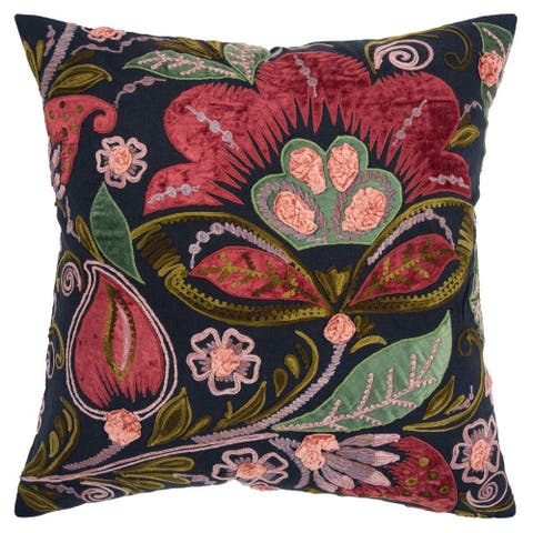 "Rizzy Home Burgundy Floral 20""X 20"" Decorative Pillow"