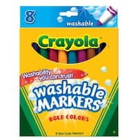 Crayola Non-Toxic Washable Marker Set, Conical Tip, Assorted Bold Colors, Set of 8