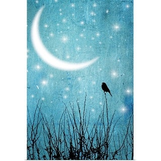 """""""Silhouette of one bird and branches against a blue starry night with a quarter moon."""" Poster Print"""