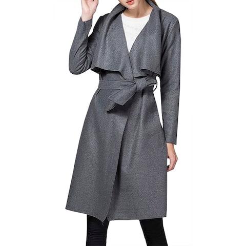 b826ce081 QZUnique Women's Casual Long Sleeve Lapel Outwear Trench Coat Cardigan