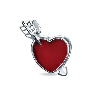 Bling Jewelry Cupid Red Arrow Heart Enamel Bead Charm .925 Sterling Silver