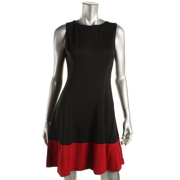 Lauren Ralph Lauren Womens Cocktail Dress Sleeveless Colorblock