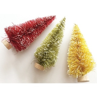 Merry & Bright Bottle Brush Trees-3""