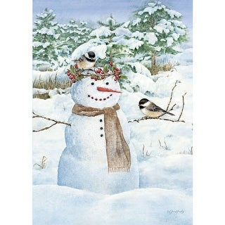 Chickadee Snowman Outdoor Flag-Mini - 12.5 x 18, Gardens by Lang Companies