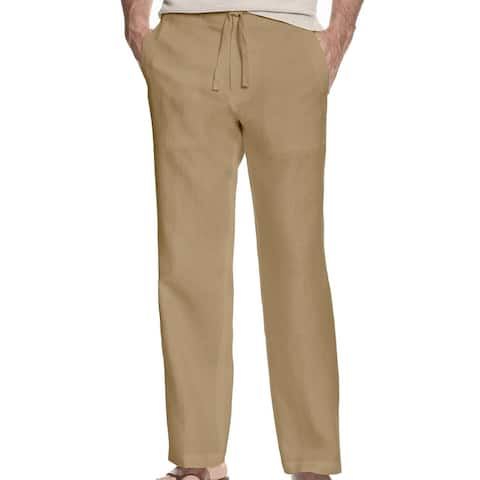 Tasso Elba Mens Pants Safari Brown Size 3XL Drawstring Linen Flat Front