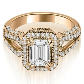 1.35 cttw. 14K Rose Gold Milgrain Halo Emerald Cut Diamond Engagement Ring