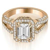 1.35 cttw. 14K Rose Gold Milgrain Halo Emerald Cut Diamond Engagement Ring