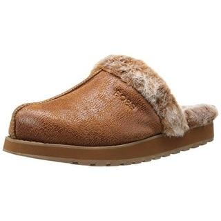 Skechers Womens Winter Wonder Faux Suede Memory Foam Scuff Slippers