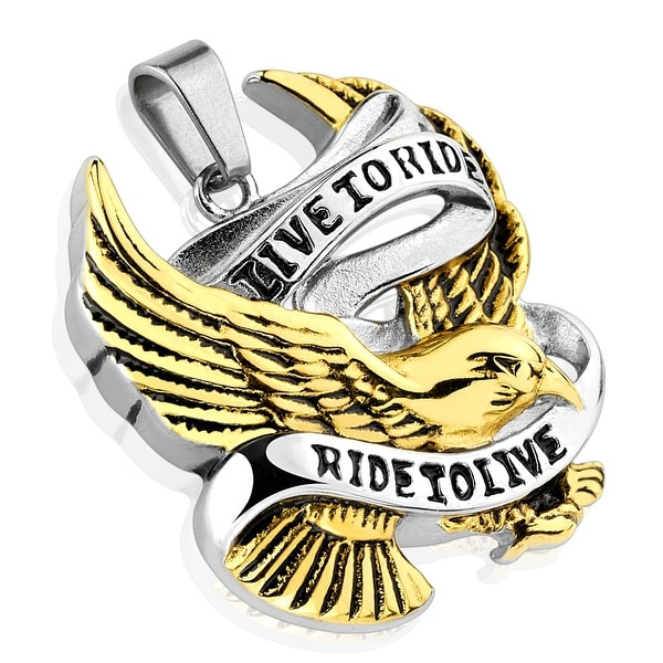"""Live to Ride Ride to Live"" Gold IP Eagle Stainless Steel Pendant (33 mm Width)"