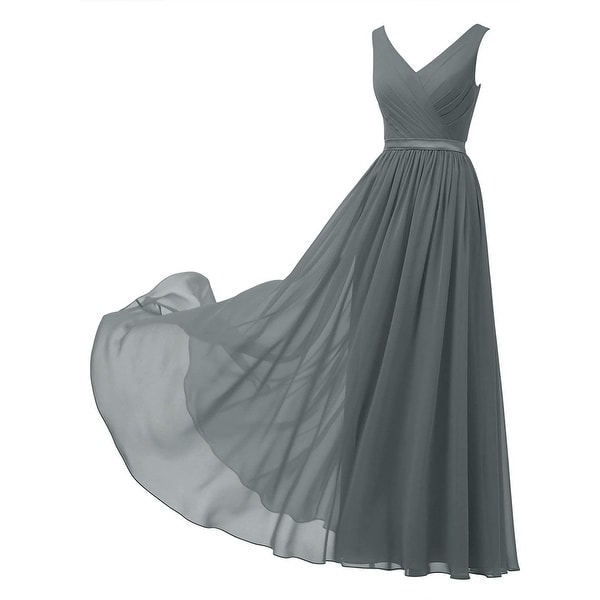 Alicepub Women's Dress Cool Smoke Gray Size 8 Chiffon Satin Gown. Opens flyout.