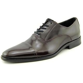 Calvin Klein Radley Box Smooth Men  Cap Toe Leather Burgundy Oxford