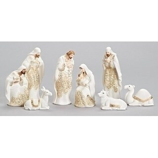 8-PIece Ivory and Gold Lace Embossed Religious Christmas Porcelain Nativity Figurine Set