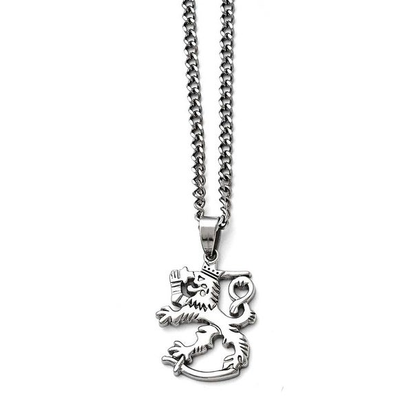 Chisel Stainless Steel Polished Lion with 2in ext. Necklace - 18 in