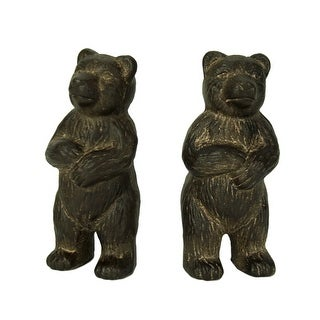 Rustic Brown Cast Iron Standing Bear Bookends - 5.5 X 2.25 X 2 inches